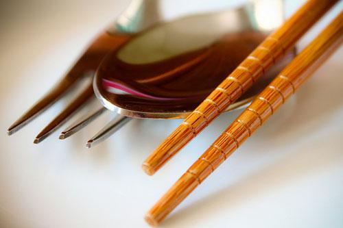 chopsticks, fork