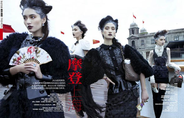 Bonnie Chen, Emma Xie, Lina Zhang, Zhang Xue, Harper's Bazaar China, китайские модели, китайские глянцевые журналы, новогодние фотосессии, китайские фотосессии