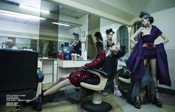 Emma Xie, Lina Zhang, Zhang Xue, Harper's Bazaar China, китайские модели, китайские глянцевые журналы, новогодние фотосессии, китайские фотосессии
