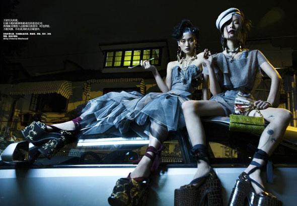 Lina Zhang, Ge Qi, Harper's Bazaar China, китайские модели, китайские глянцевые журналы, новогодние фотосессии, китайские фотосессии