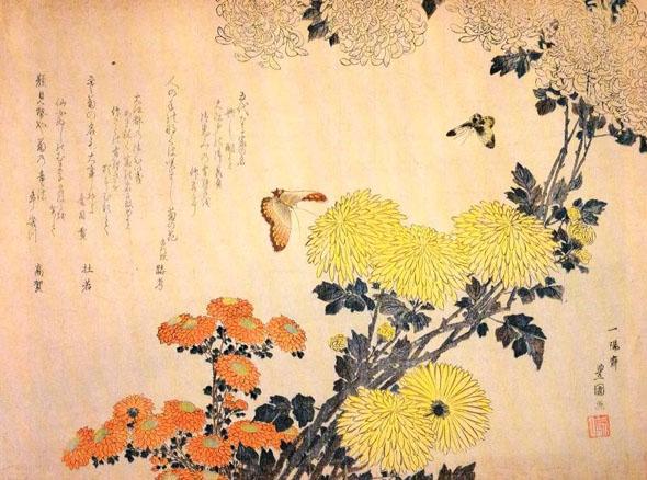 китайская живопись, цветы и бабочки