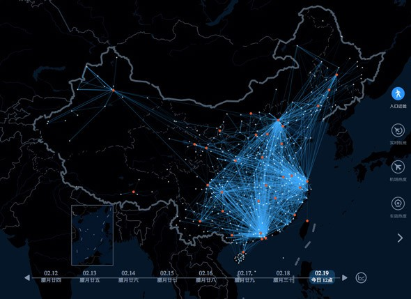 china, china heat map, china migration, china migration new year